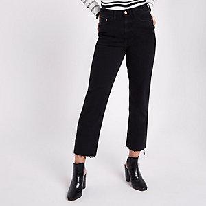 Petite – Bella – Schwarze Straight Leg Jeans mit Fransen