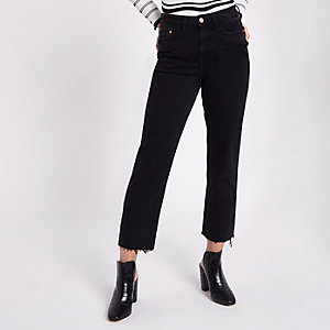 Petite black frayed Bella straight leg jeans