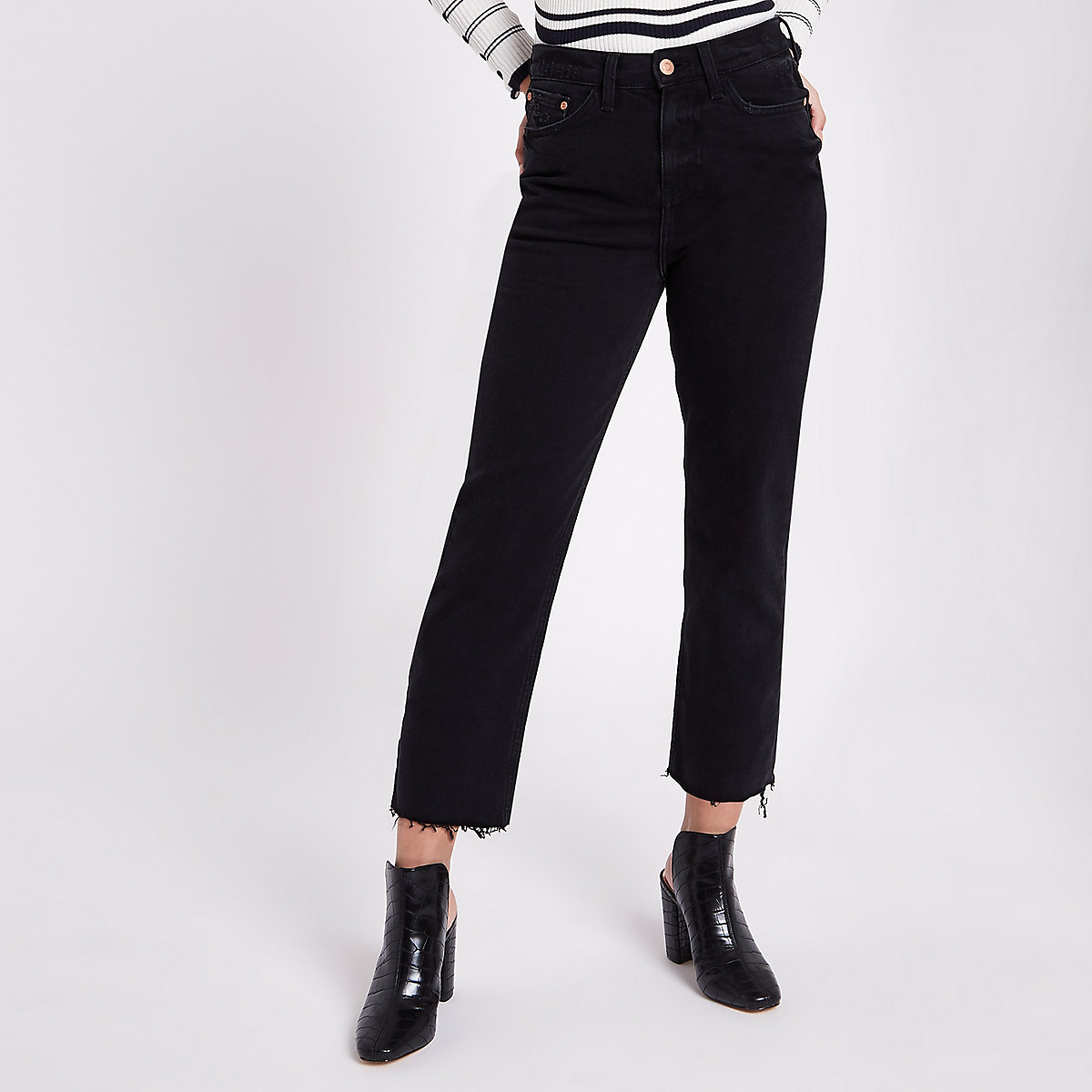 Petite black frayed Bella straight leg jeans