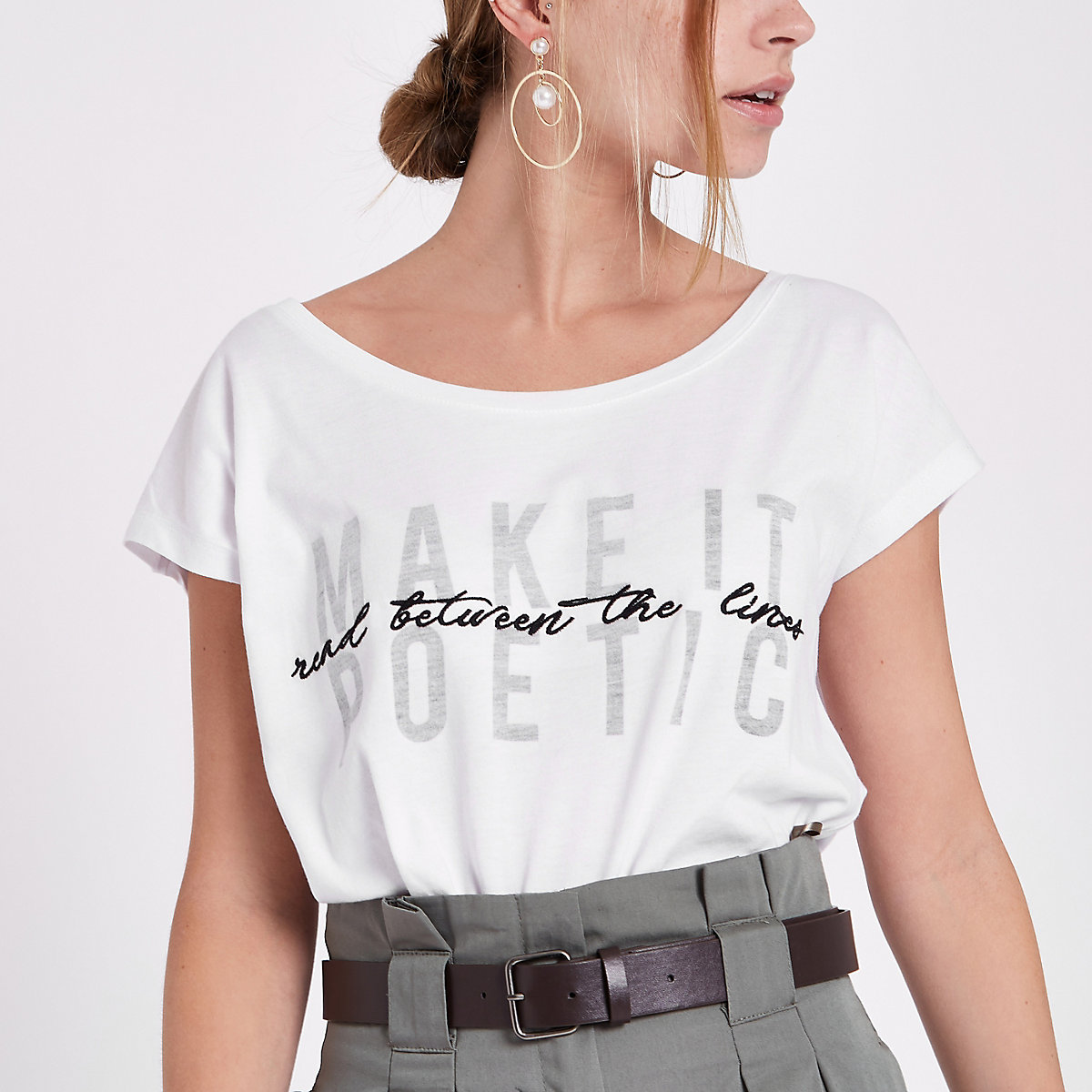 Petite white 'make it poetic' print T-shirt
