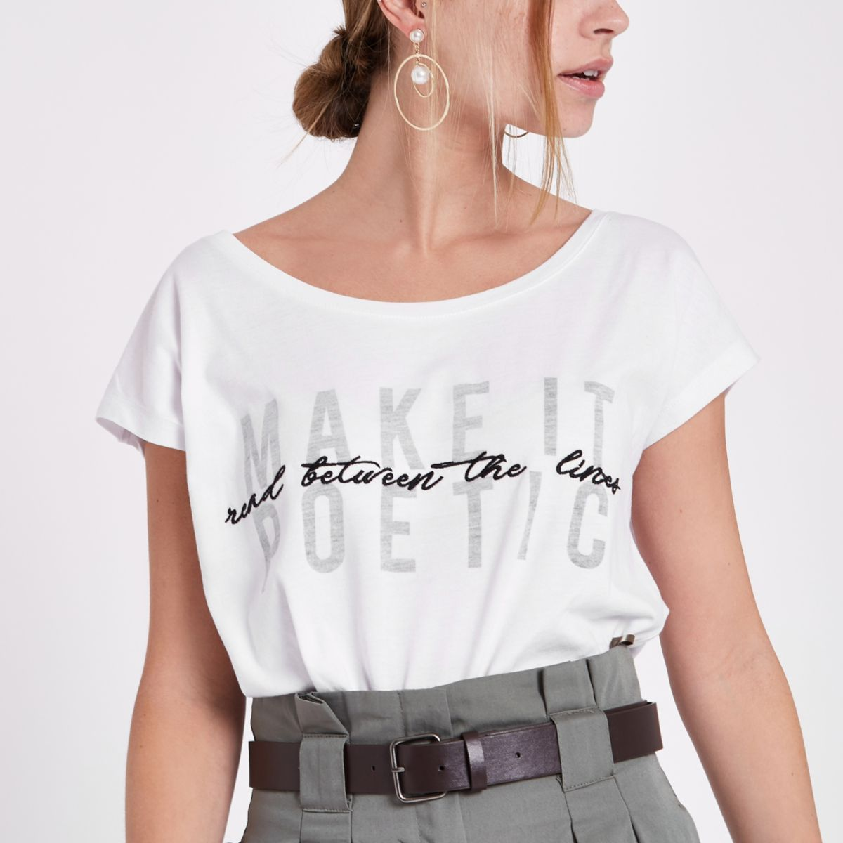 Petite white 'make it poetic' print T-shirt