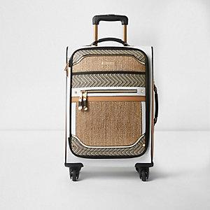 Koffer in Beige mit vier Rollen und Webeinsatz