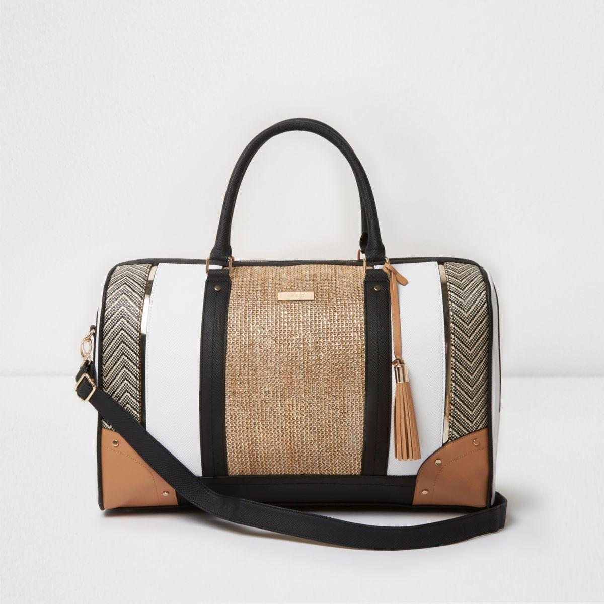 Beige mixed weave panel weekend bag