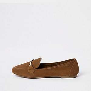 Light brown suede snaffle detail loafer