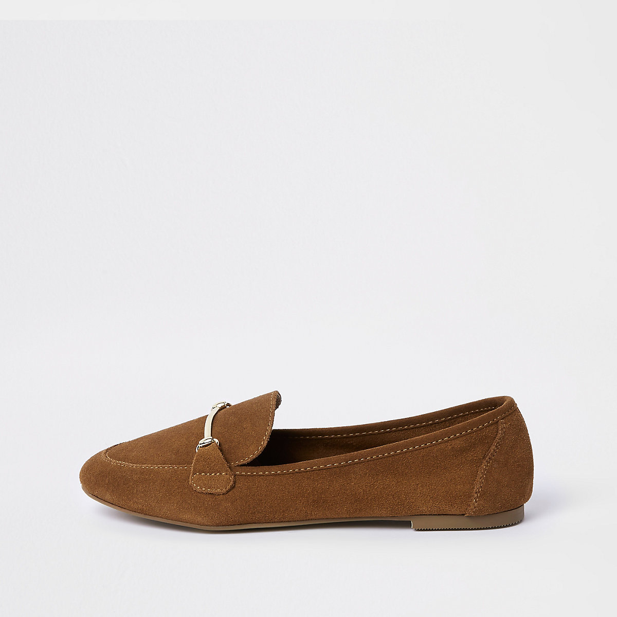 Light brown suede snaffle detail loafers