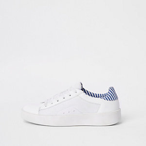 White mesh side panel lace-up sneakers