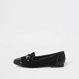 Black toe cap snaffle loafers