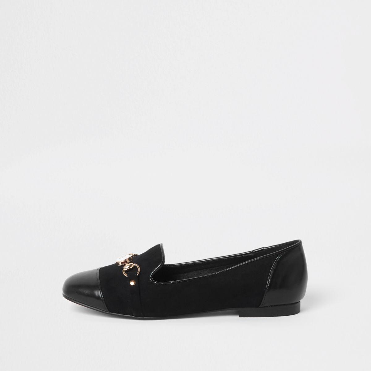Black toe cap snaffle loafers