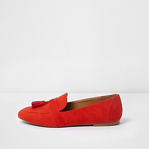 Red faux suede tassel loafers