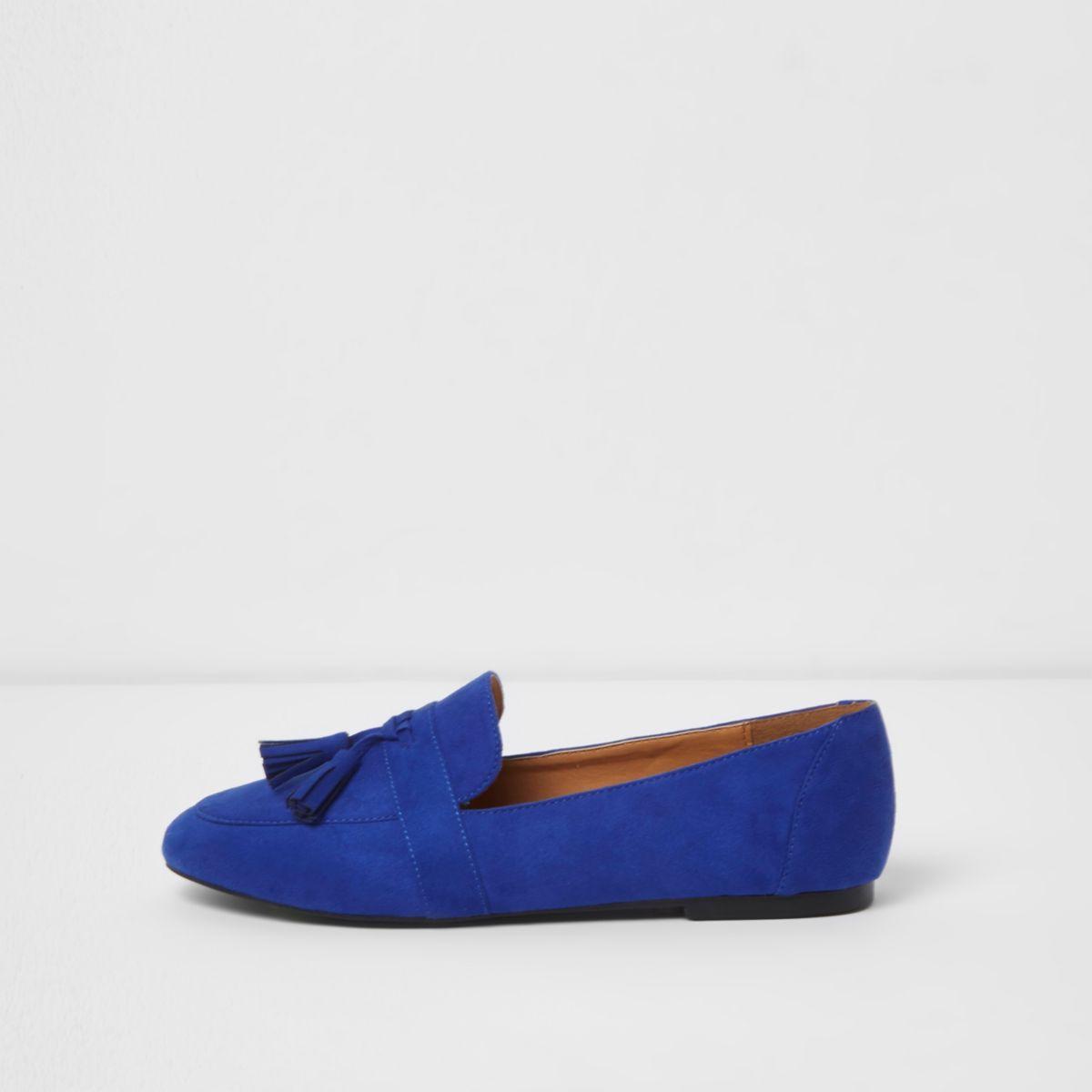 Kobaltblauwe loafers met kwastjes