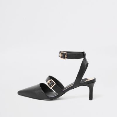 Black buckle kitten heel mules £46.00