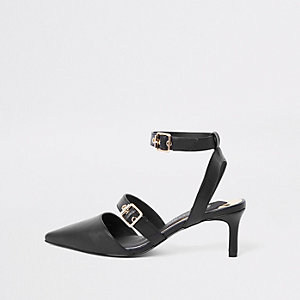 Black buckle kitten heel mules