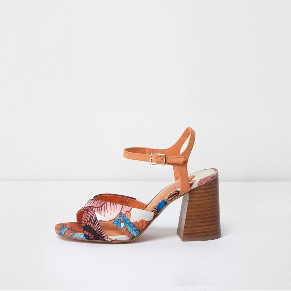 Orange wide fit floral cross strap sandals