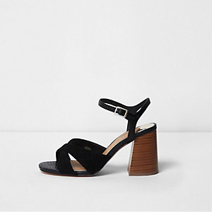 Black wide fit cross strap block heel sandals