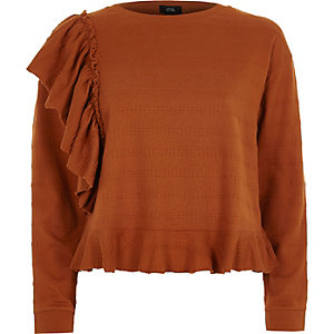 Brown jacquard frill long sleeve top