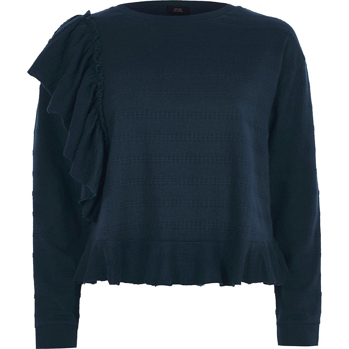 Navy jacquard frill long sleeve top