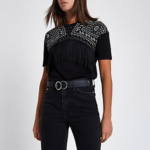 Black spot print fringed yoke T-shirt
