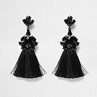 Black embellished tassel clip on earrings