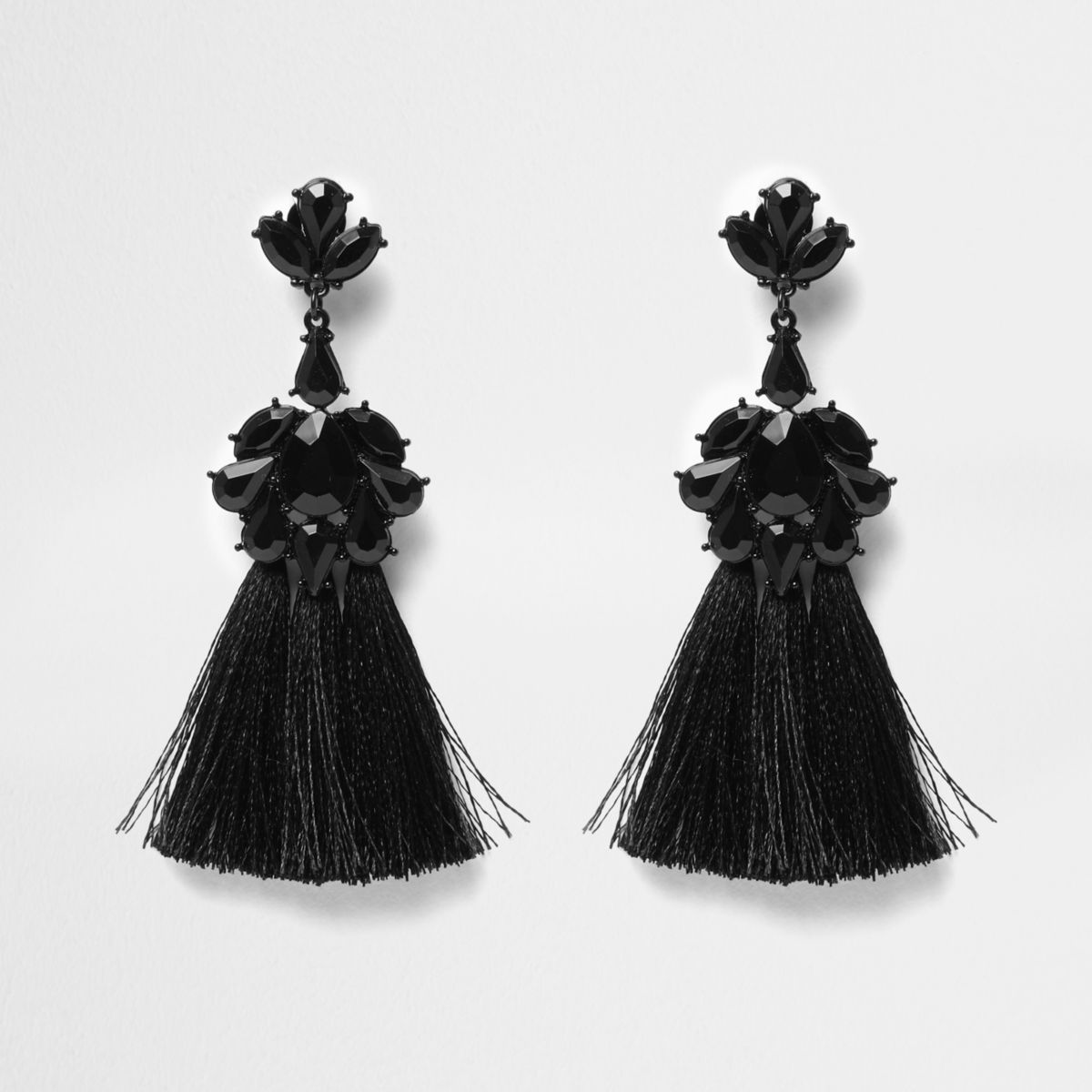 Black embellished tassel clip on earrings