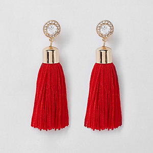 Red tassel drop clip on earrings
