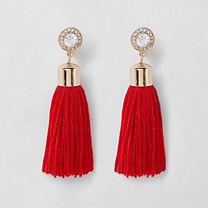 Red tassel drop clip on earrings