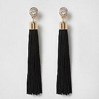 Black rhinestone clip on tassel drop earrings