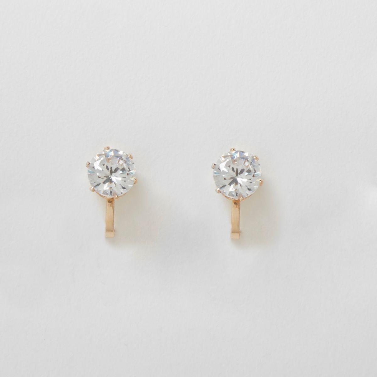 Gold tone diamante clip on earrings