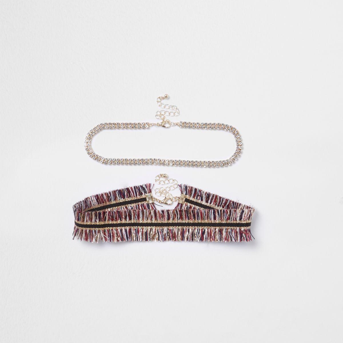 Red metallic stripe fringe choker pack