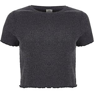 Grey shirred frill edge cropped T-shirt
