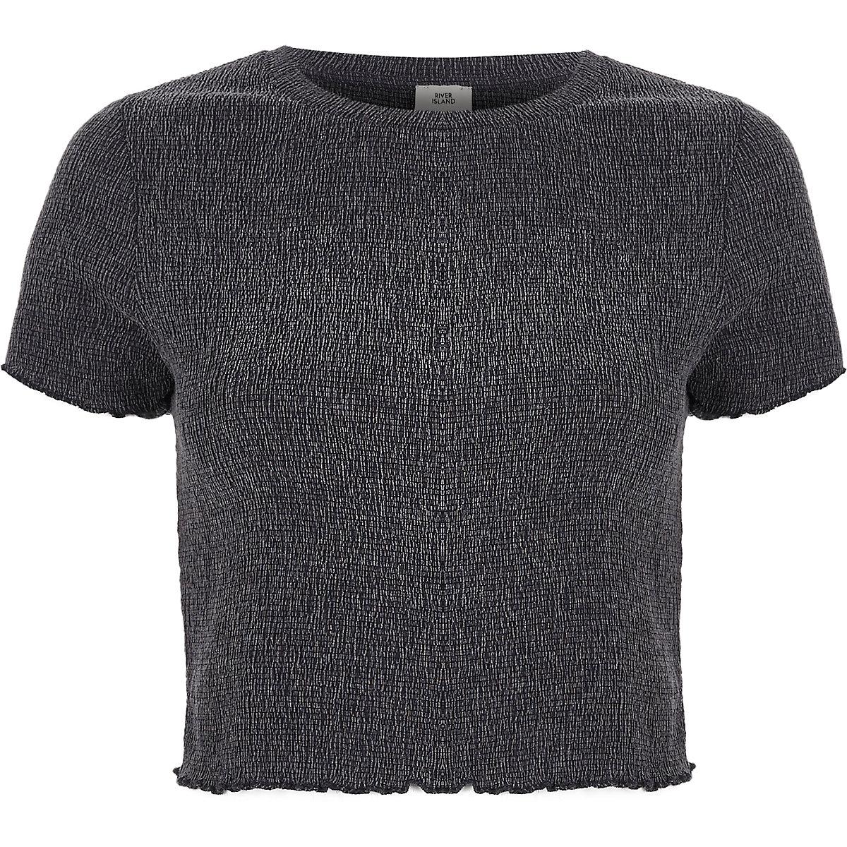 Grijs kort T-shirt met franje aan de zoom