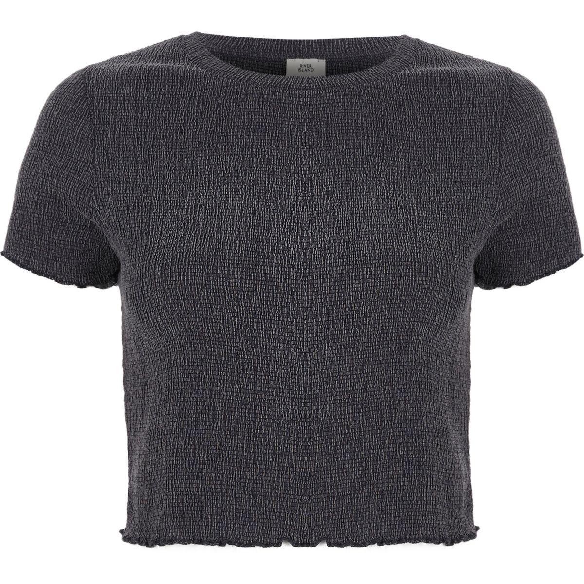 Grey shirred frill edge cropped T-shirt