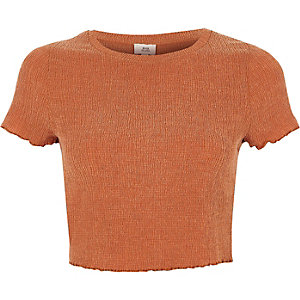 Orange lettuce frill cropped T-shirt