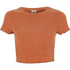 T-shirt court orange à volant ondulé