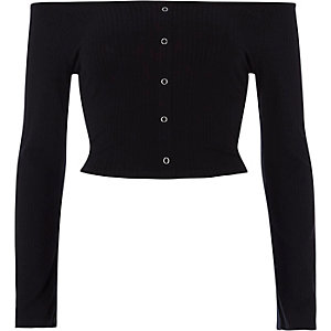 Black rib popper bell sleeve bardot crop top