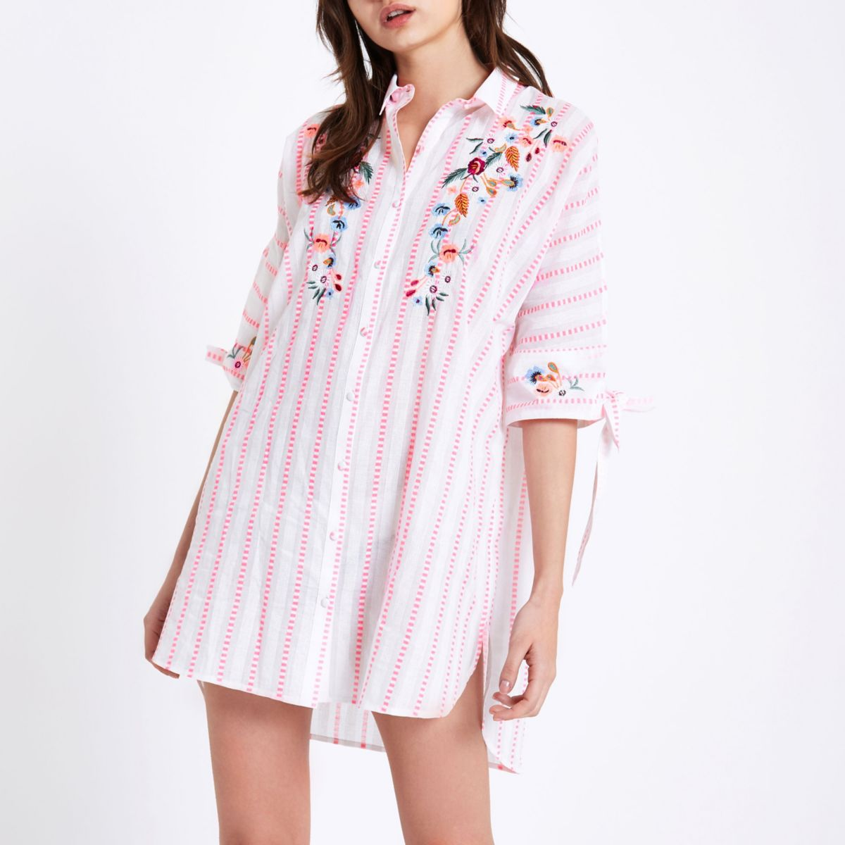 Pink stripe embroidered pajama shirt