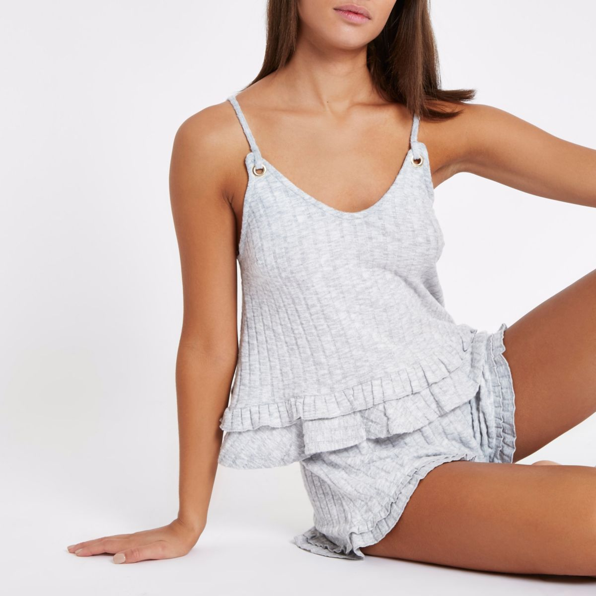 Light grey rib knit frill hem cami pyjama top