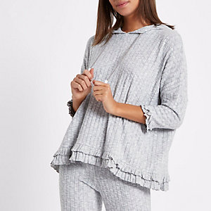 Light grey rib frill oversized lounge hoodie