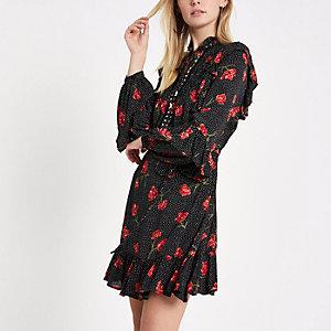 Black floral studded frill smock dress