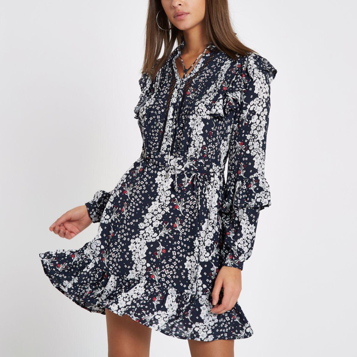 Blue floral studded frill smock dress