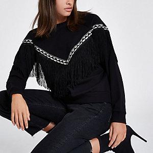 Sweat noir motif aztèque à bordure frangée
