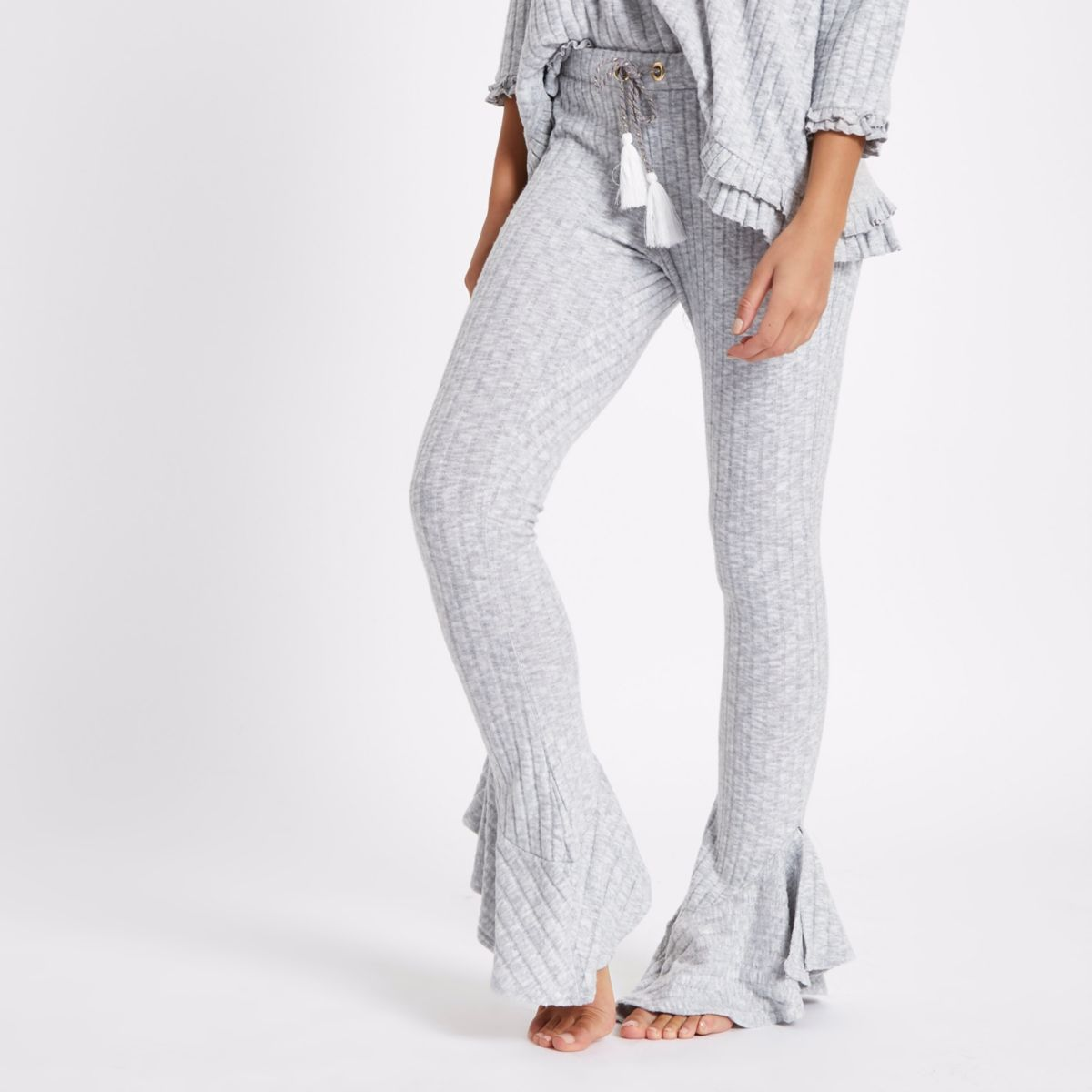 Light grey rib knit flare lounge trousers