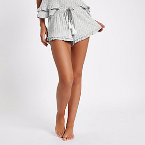 Light grey rib knit frill hem pajama shorts