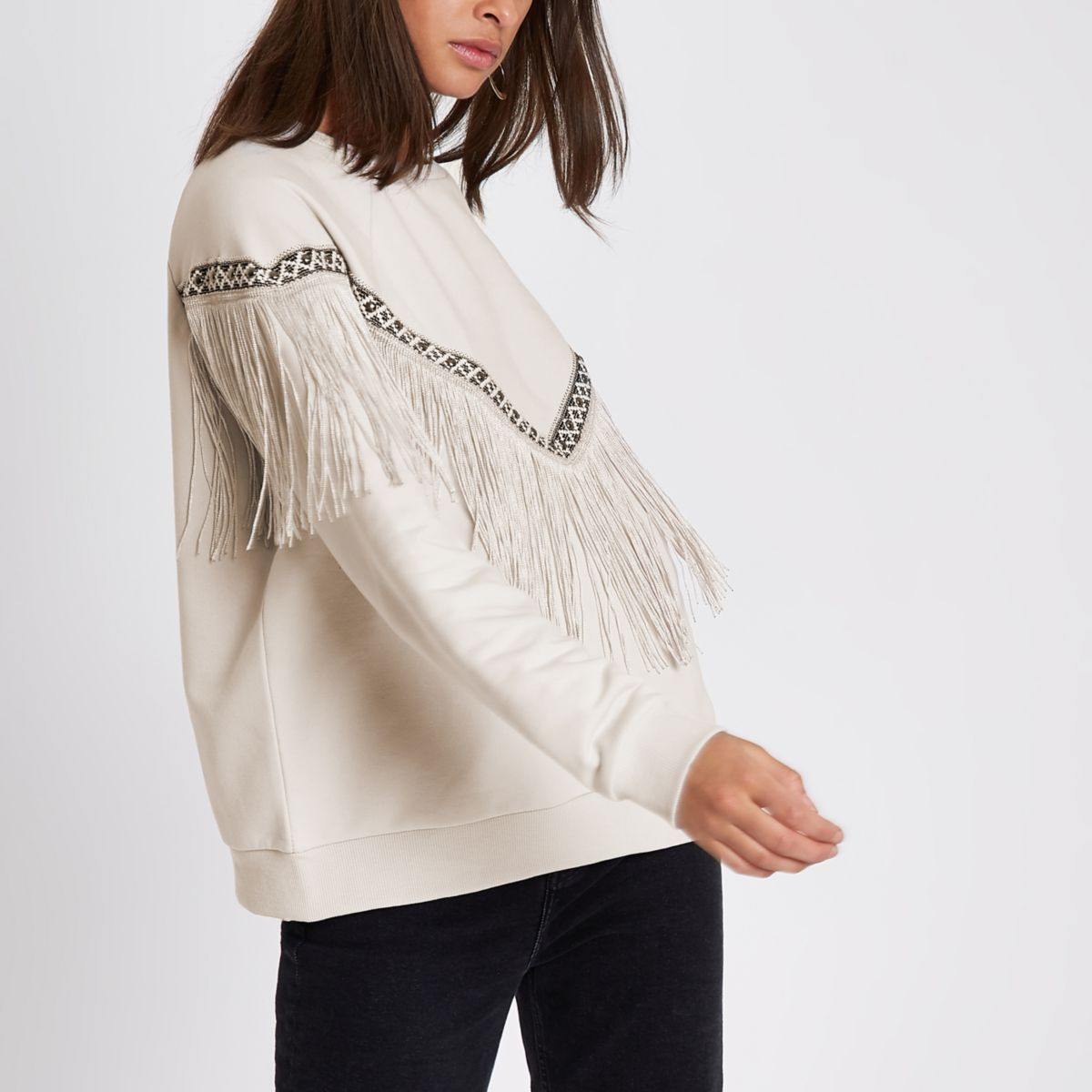 Beige embroidered trim fringe sweatshirt