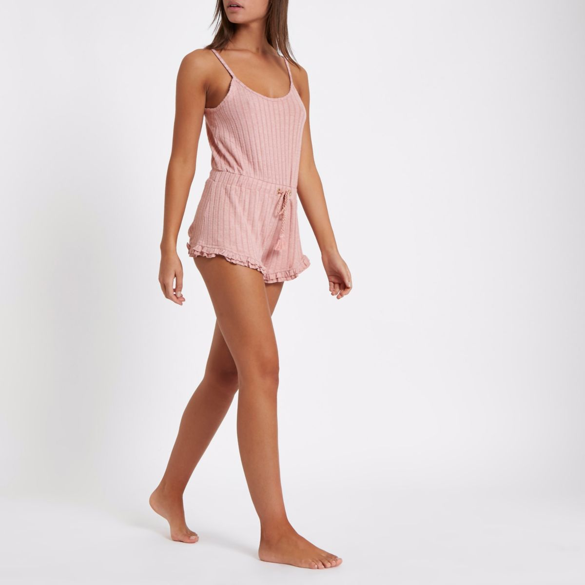 Pink rib knit frill hem lounge playsuit