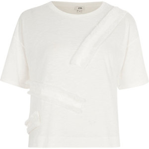 Cream fringe tape boxy T-shirt