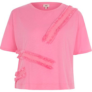 Pink fringe tape boxy T-shirt