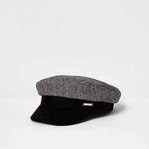 Grey herringbone print baker boy hat