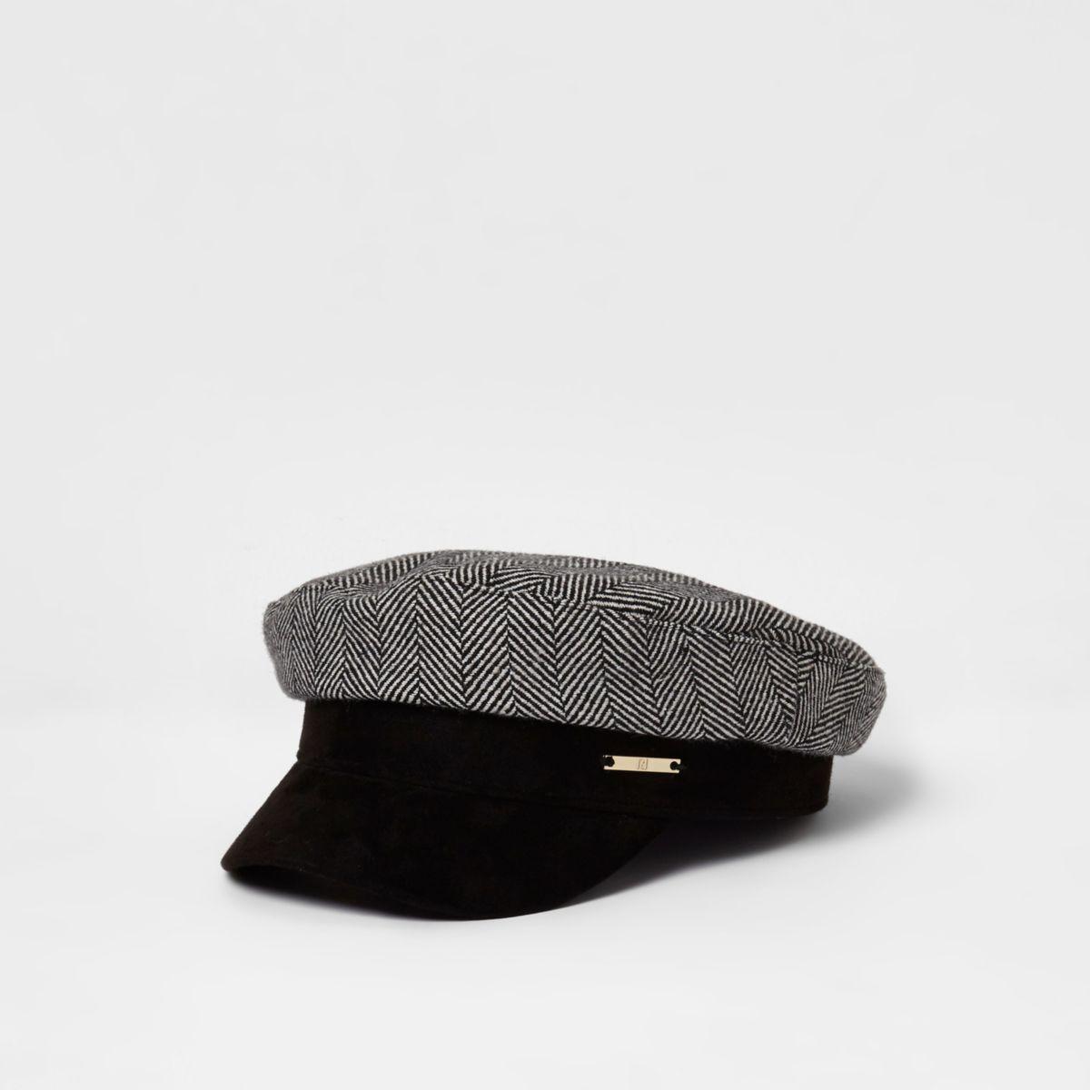 Grey herringbone print baker boy hat