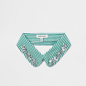 Green stripe print jewel trim collar bib