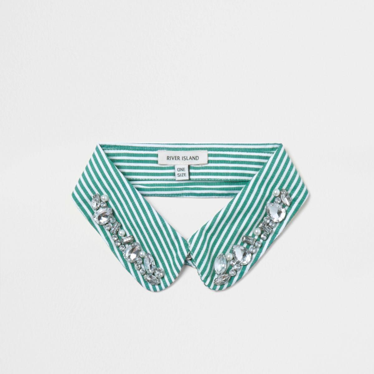 Green stripe print jewel trim collar bib